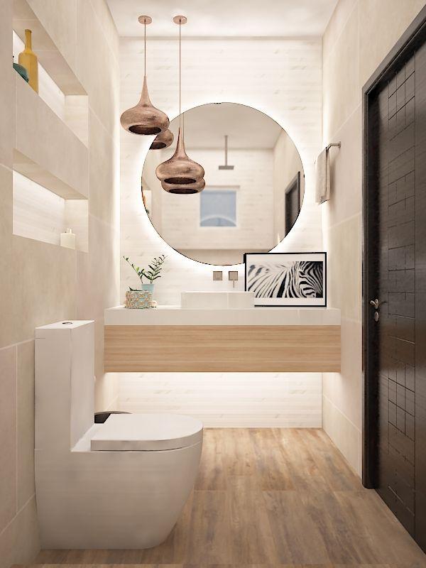 Ba o dise o ba o beige piso duela lampara bronce for Articulos para banos y cocinas