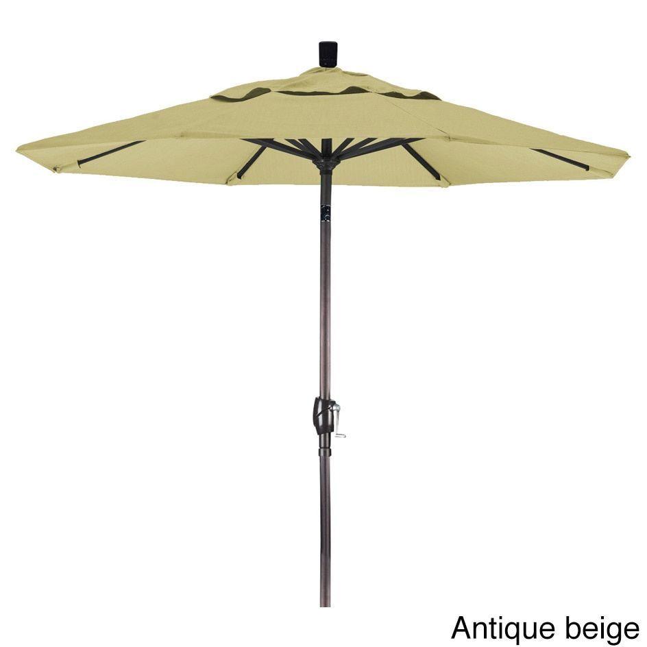California Umbrella 7.5' Rd. Market Umbrella, Crank Lift with Push Button Tilt, Bronze Finish, Olefin Fabric