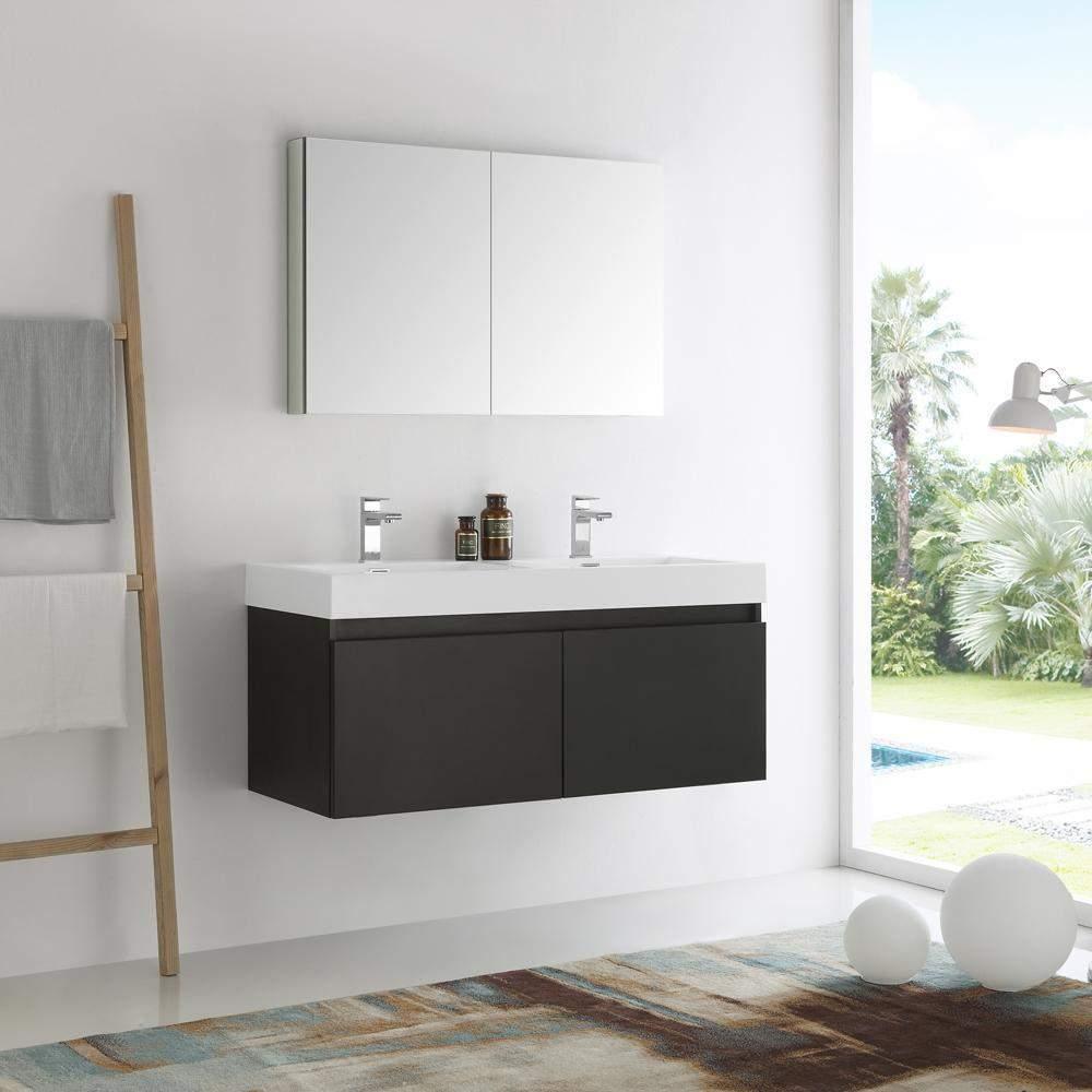 48 inch Fresca Mezzo Wall Hung Double Sink Modern Bathroom Vanity ...