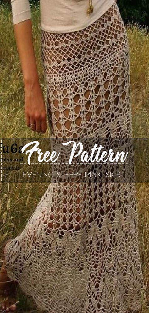 Evening steppe Maxi skirt – Free Pattern #crochetclothes