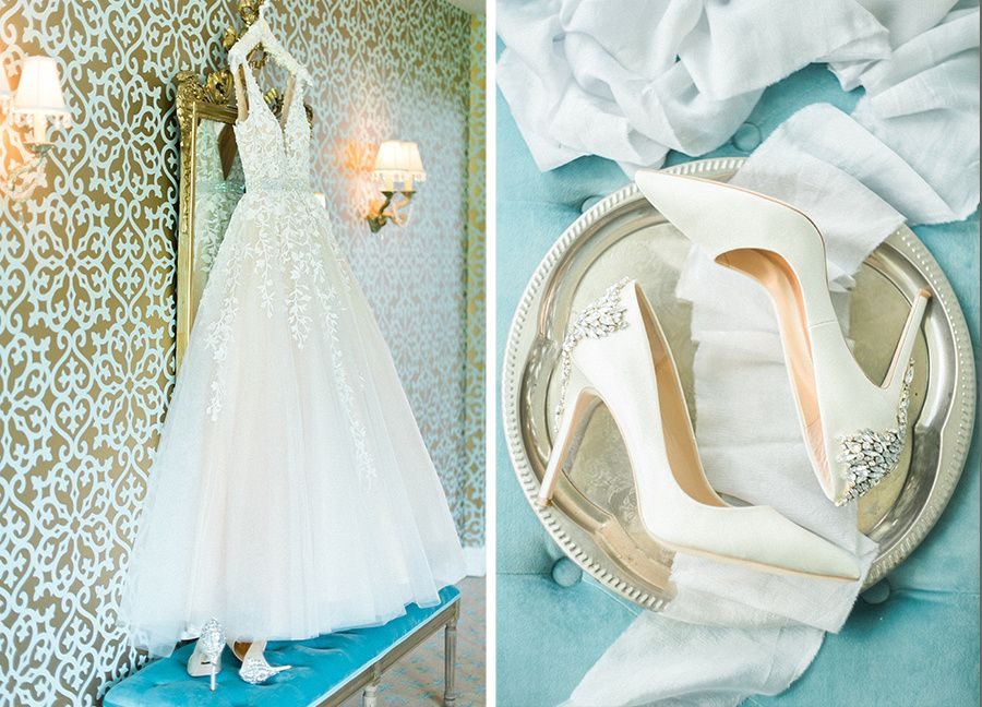 Blush wedding gown and Badgley Mischka wedding shoes. Charleston WV ...