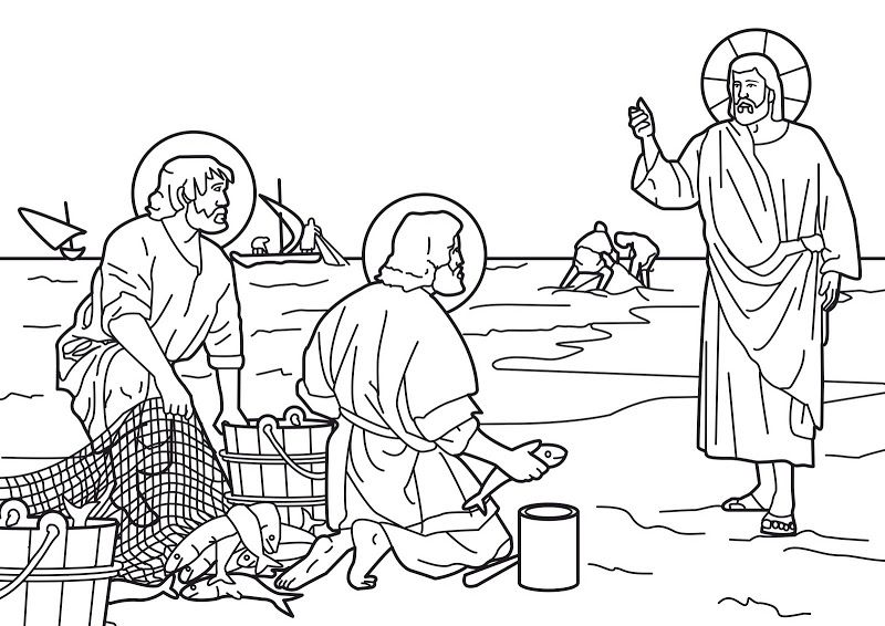 Jesus Calls The Fishermen Peter And Andrew To Be His First Disciples Bible Coloring Page