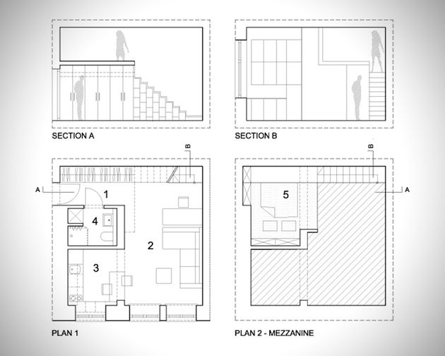 Spacious 300 Square Foot Half Loft Home 1 Floor Plans