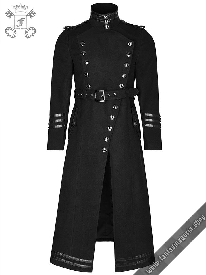 Gothic Vintage Military uniform inspired long coat made of synthetic wool and decorated with synthetic shiny leather