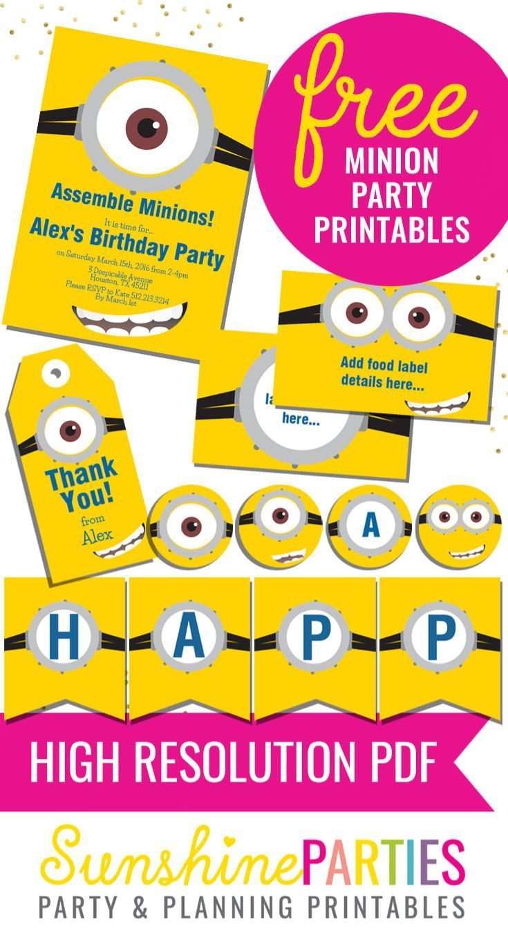 free minion party printables enjoy the invitation birthday banner food labels and party