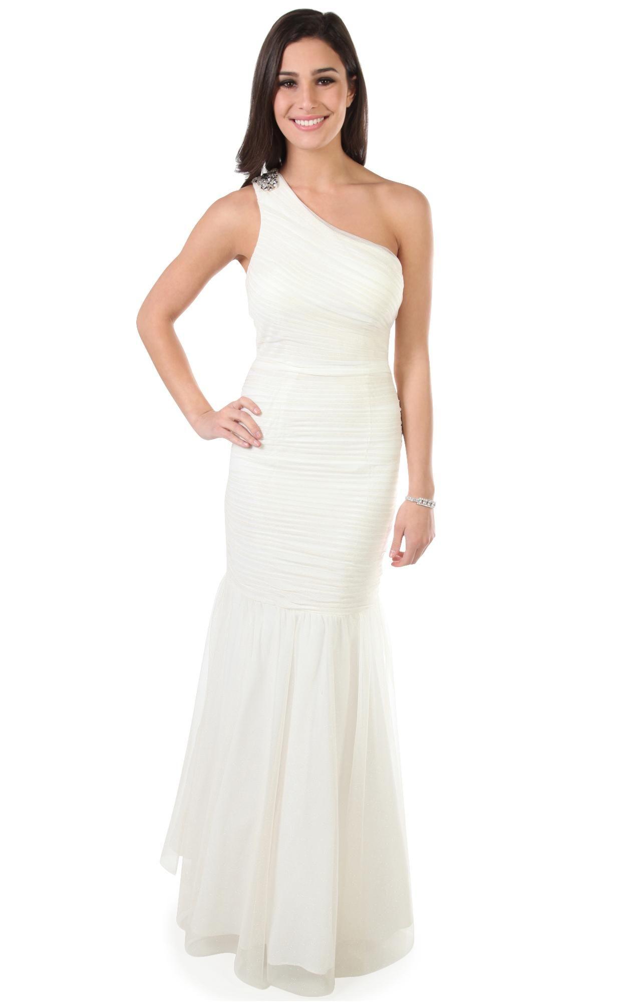 Deb shops one shoulder glitter dress with a godet mermaid skirt