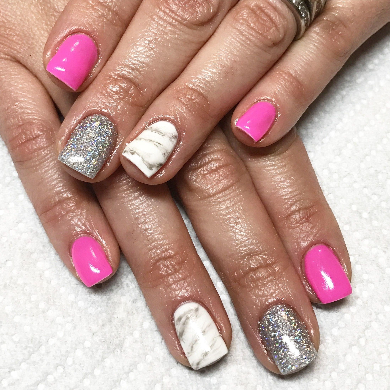 Pink nails. Marble nails. Holo glitter nails. Gel nails. Hard gel ...
