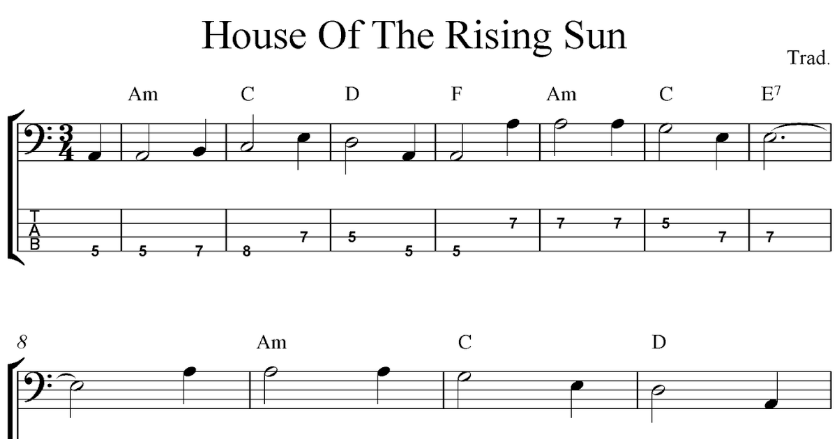Free Printable Sheet Music Free Bass Tab Sheet Music House Of The