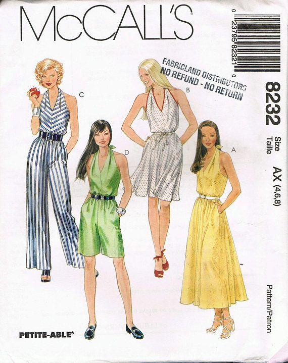 Size 4 8 Misses Jumpsuit Sewing Pattern V Neck Halter Sew Vintage