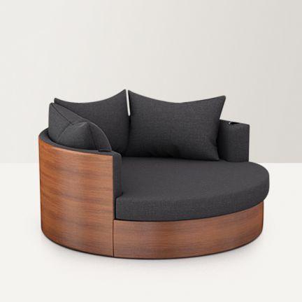 U and i furniture globus single seater sofa dark grey for Grey single chair