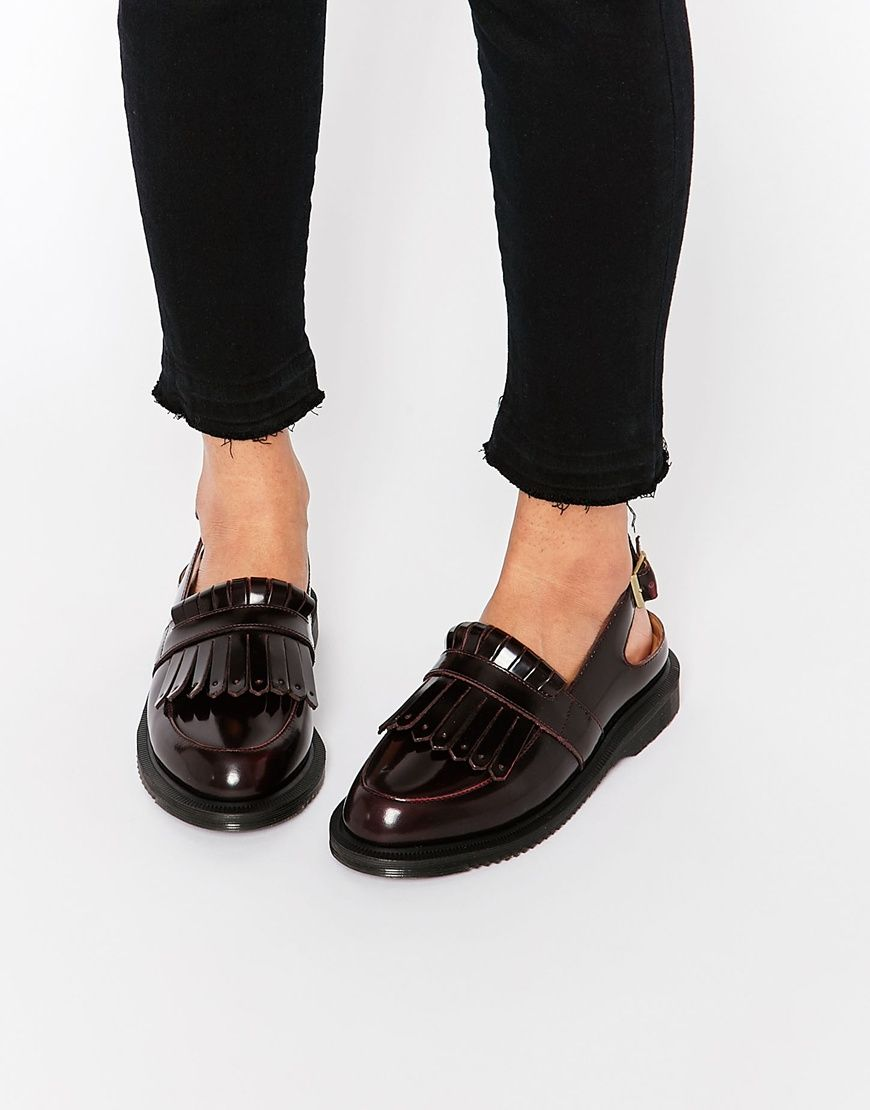 6d7169fb180 Image 1 of Dr Martens Valentine Cherry Red Slingback Tassel Loafer Flat  Shoes