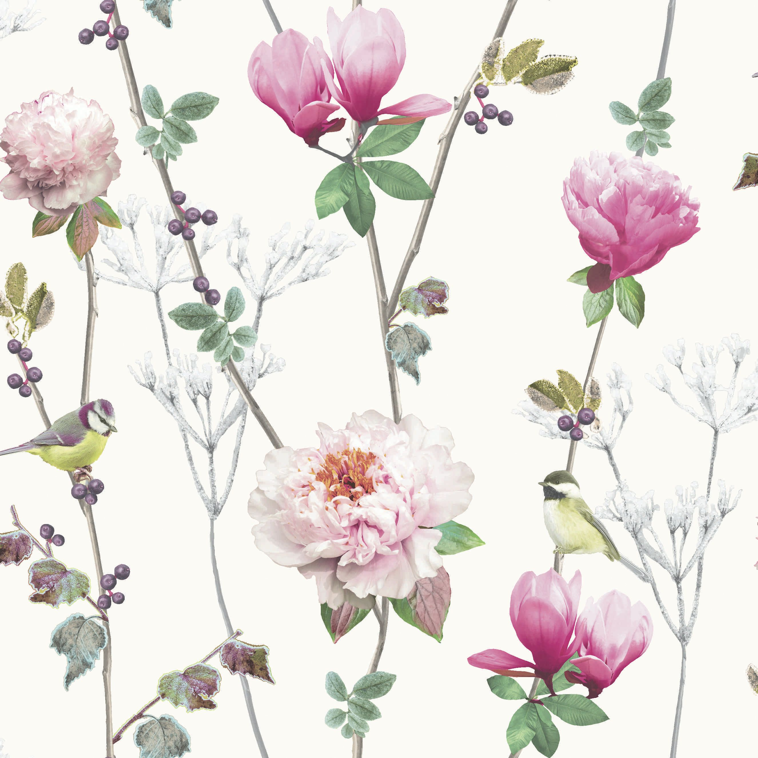 Ella White wallpaper by Arthouse Floral wallpaper, White