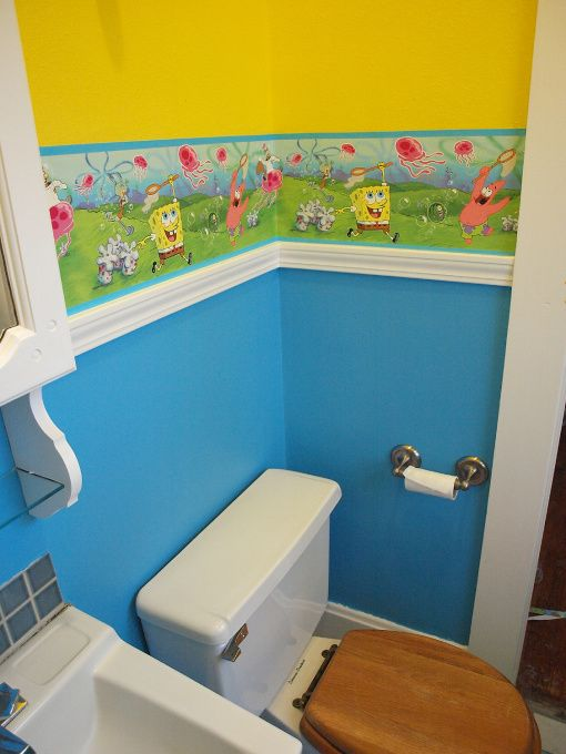 Isaac S Bathroom Without The Wallpaper And With Spongebob