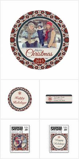 Round Chic Christmas Flat Card Set