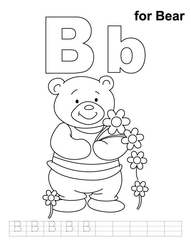 B for bear coloring page with handwriting practice