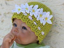 Häkelanleitung für Kamillen Babymütze