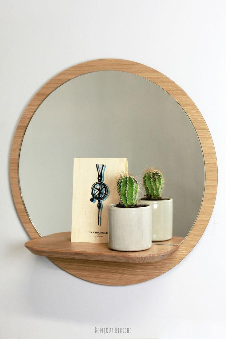 Miroir rond avec tablette reine m re design petits for Miroir rond entree