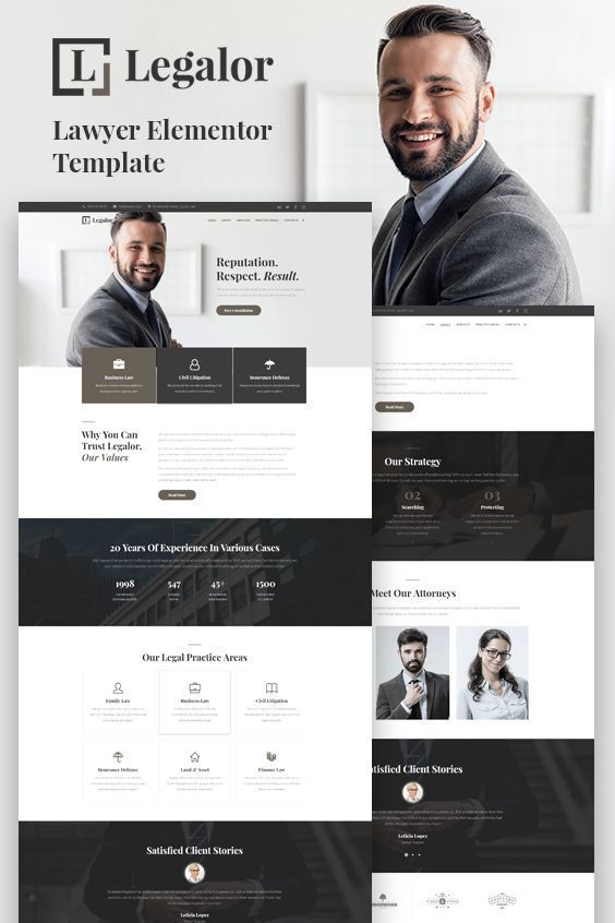 Legalor — Lawyer Elementor Template - Website design inspiration business, Business website layout, Website design company, Web design, Business web design, Business website design - Legalor Lawyer Elementor template is created for lawyers, attorney, law advisers and legal officers  Showcase your law firm with a responsive WordPress skin