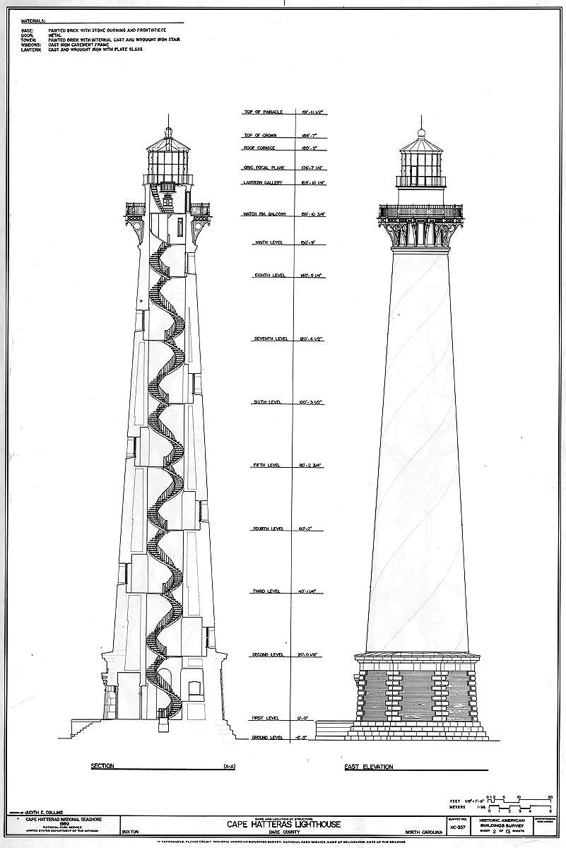 Cape Hatteras Lighthouse SectionElevation Lighthouse Drawing Cape Hatteras Lighthouse St
