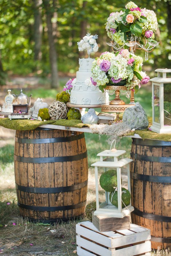 Enchanted Forest Bridal Photo Shoot Pretty My Party Party Ideas Wedding Cake Table Decorations Diy Wedding Table Wedding Table