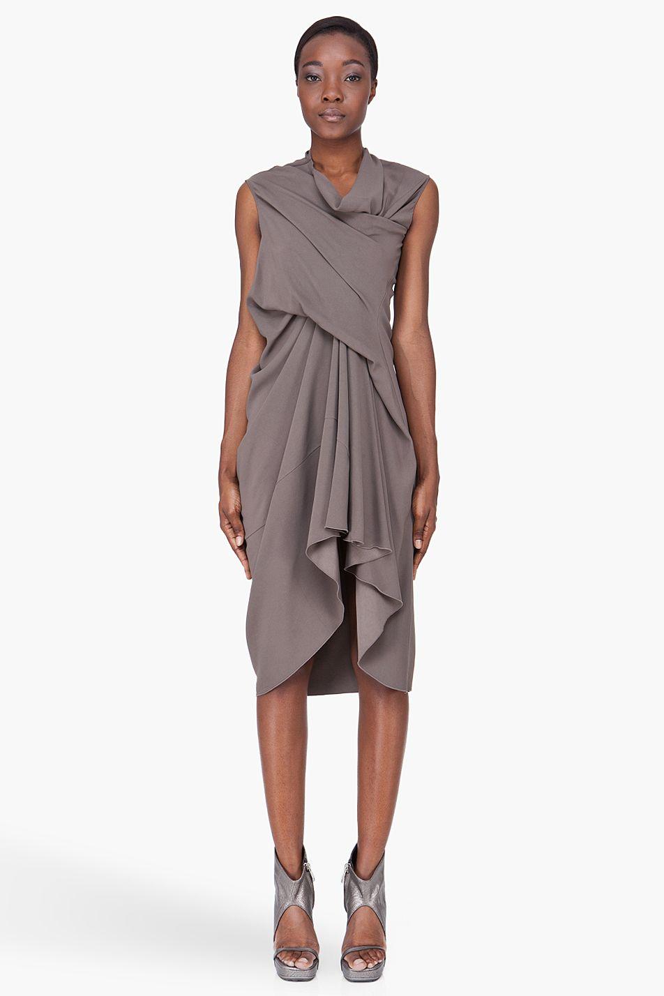 side draped dress - Grey Rick Owens hJ3bFDPx