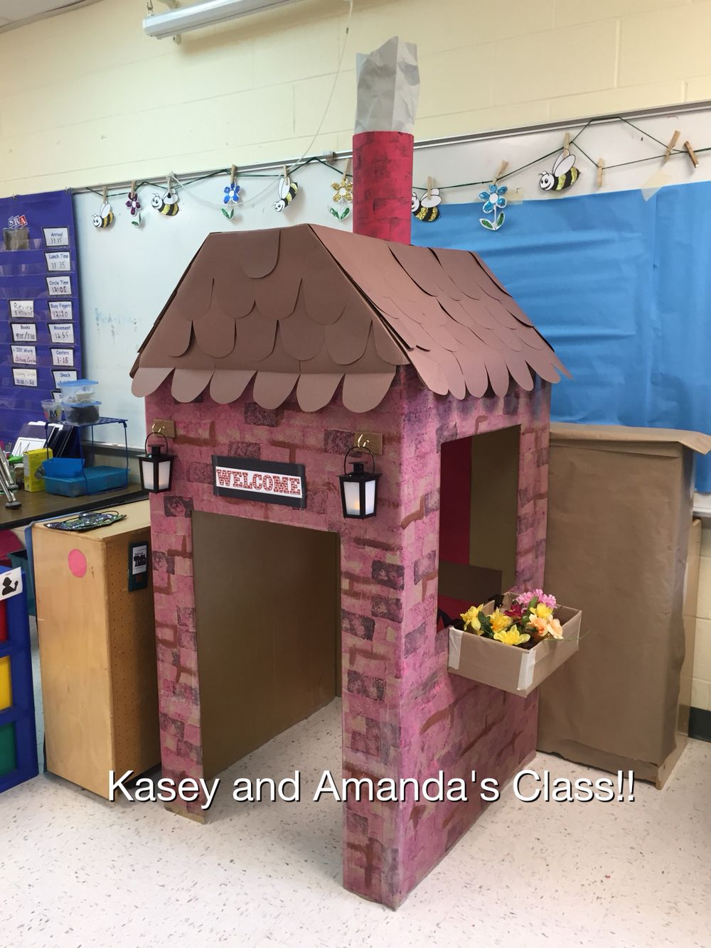 Three Little Pigs dramatic play area....made with appliance boxes!!
