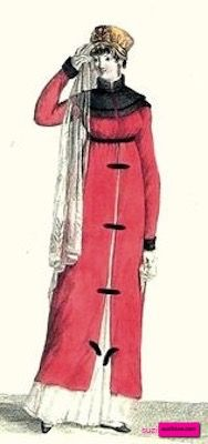 1803 Redingote, or Pelisse, or Walking Dress, French. Red Drap redingote decorated with brown velour, or velvet, and with a brown shawl collar and front fastenings. Hat has a long hanging veil. Fashion Plate via Journal des Modes et des Dames, or Costume Parisienne. suzilove.com