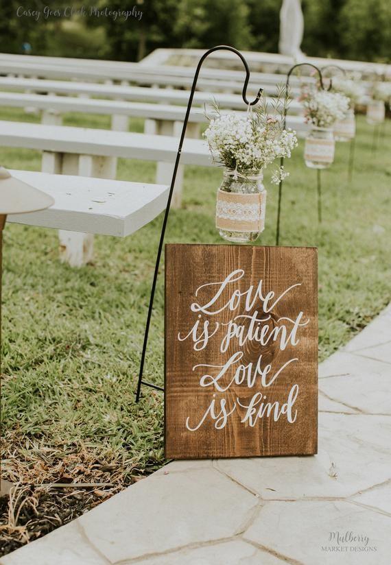 Hochzeit Gang Zeichen, handbemalt 1 Korinther 13 Zeichen, rustikale Hochzeit Zeichen, 6er-Set, Liebe ist geduldig, Zeremonie Gang – K9   – S