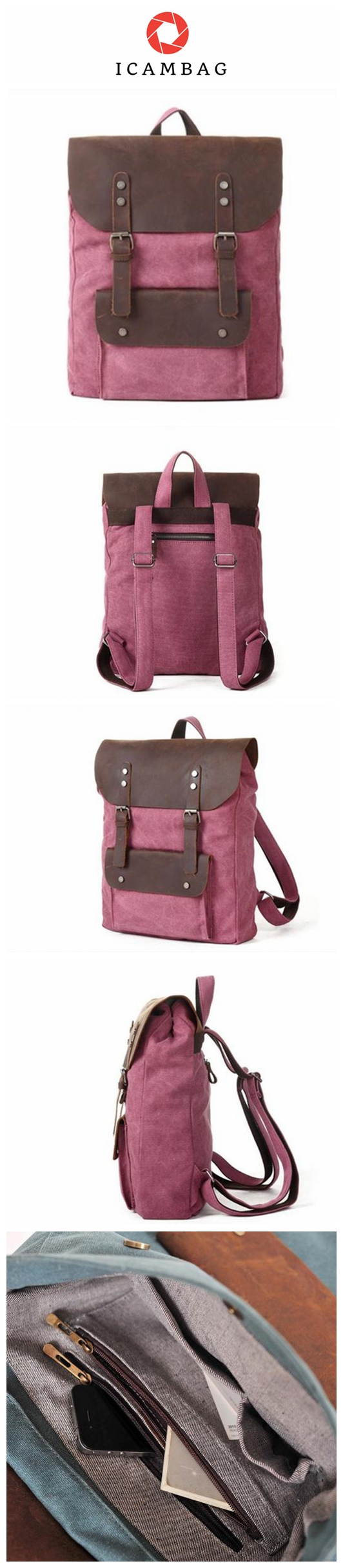 71bd668867 Crazy Horse Leather Red Leisure Canvas Backpacks School Backpacks IPAD  Laptop Backpack Travel Bags