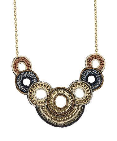Look at this #zulilyfind! Tri-Tone Beaded Loop Bib Necklace #zulilyfinds