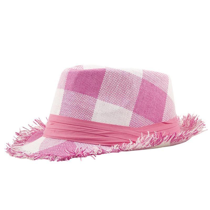 AETRENDS  2018 New Summer Beach Hats for Women Panama Hat Plaid Straw  Fedoras Lady 018978f1abf