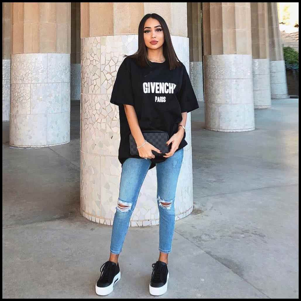Casual Sporty Street Style Oversized T,shirt, Jeans And