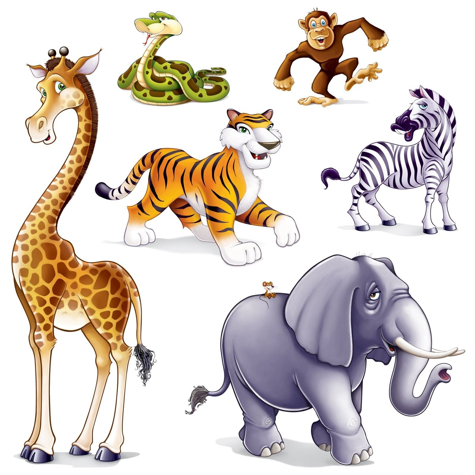 jungle animal 6 pc party decoration prop add ons cakes prints