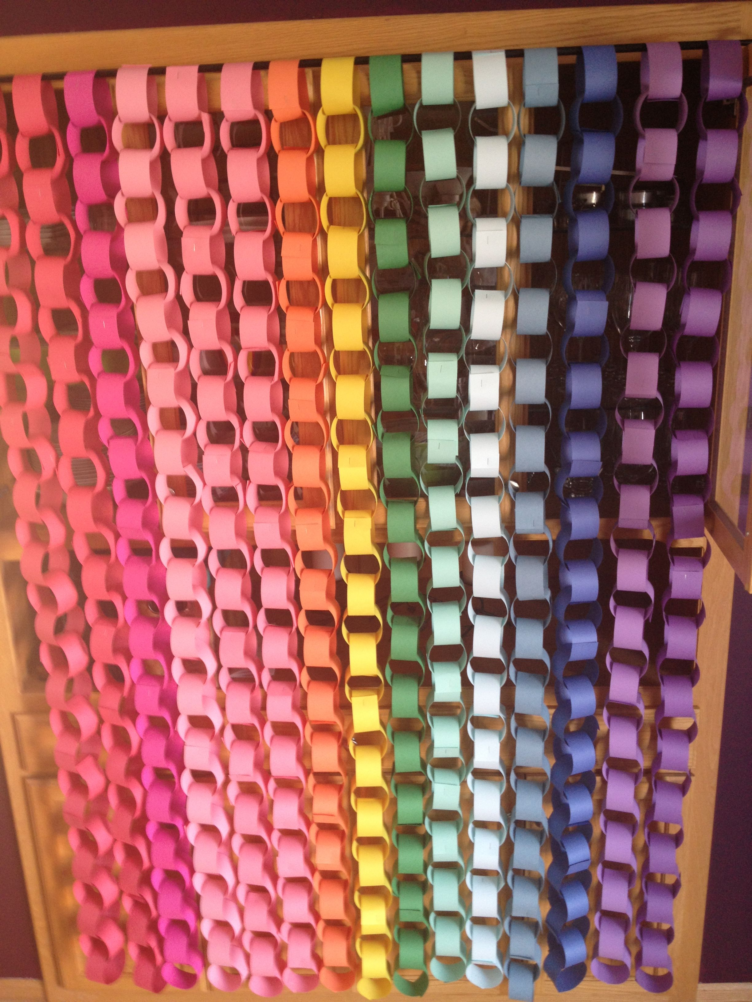Paper chain backdrop hung from a curtain rod. Would also