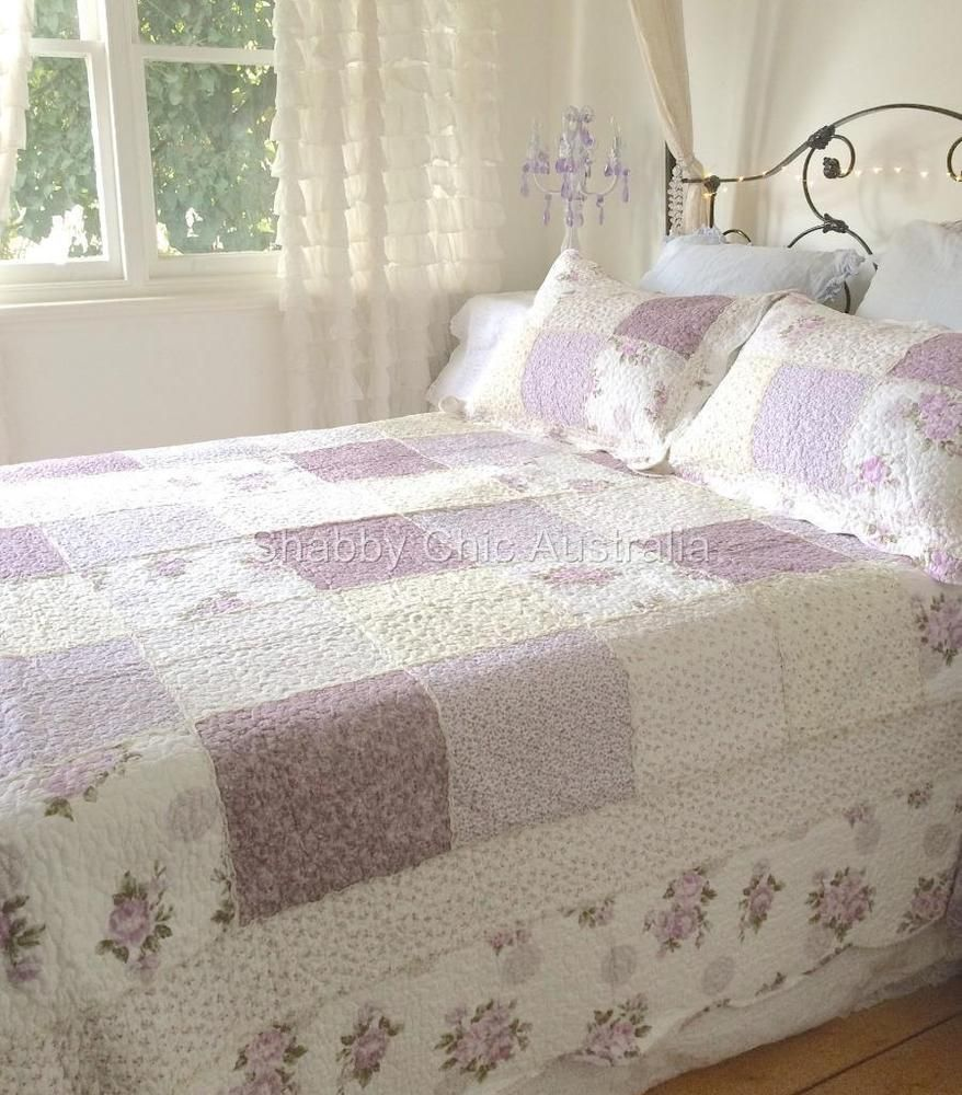 Queen Bed Country Lavender Shabby Rag & Roses Chic Patchwork Quilt ... : king single quilts - Adamdwight.com