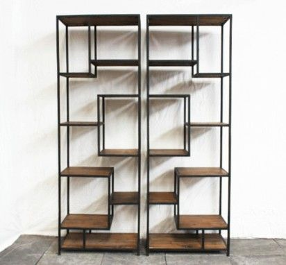tag re m tal et bois tag re m tal vieilli tag re style moderne etagere metal etagere en. Black Bedroom Furniture Sets. Home Design Ideas