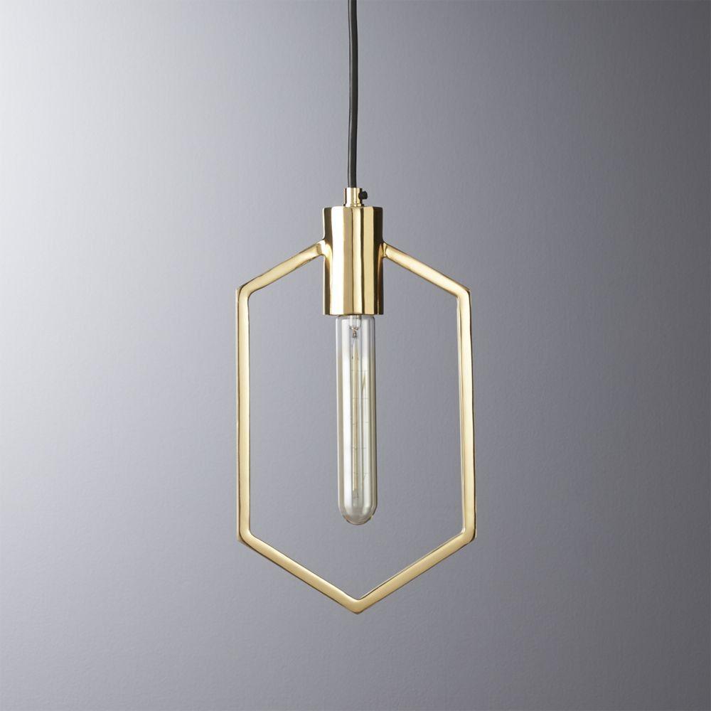 cb2 october catalog 2016 geometric brass pendant light