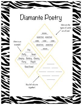 image regarding Diamante Poem Template Printable titled Diamante Poetry Template Poetry Diamante poem, Diamante