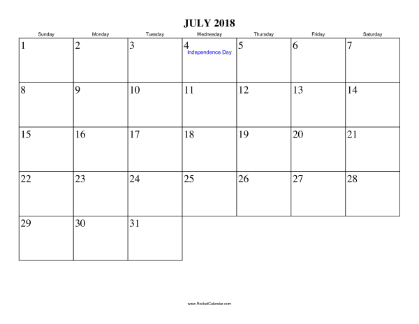 free printable calendar for july 2018 view online or print in pdf format
