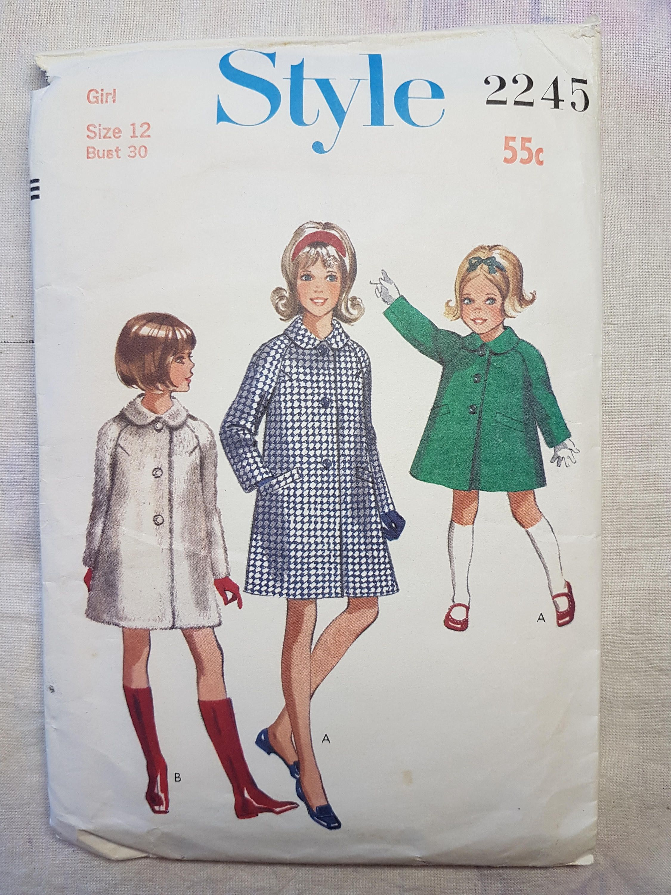 60s vintage Style 2245 Sewing Pattern Girls Coat with Peter Pan ...
