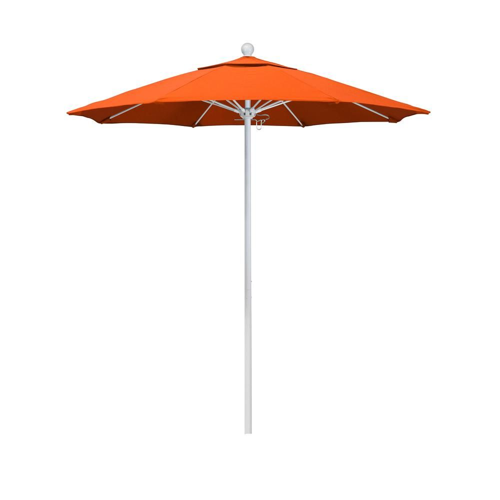 California Umbrella 7 5 Ft Matted White Aluminum Market Push Lift