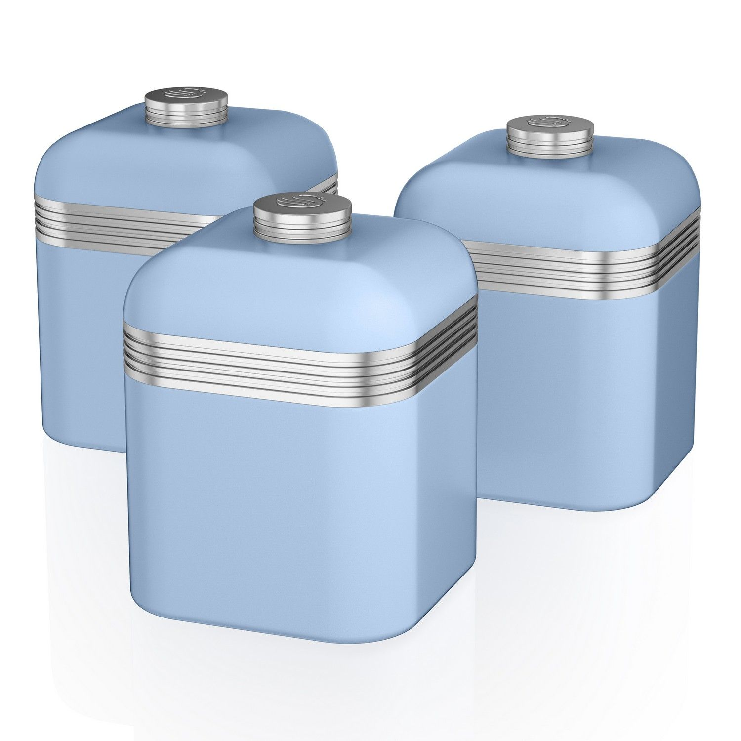 Swan Set Of 3 Tea Coffee Sugar Blue Canisters Jar Kitchen Storage Containers Tin