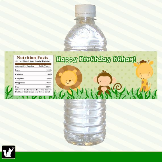 Jungle Bottle Labels Wrappers Boy Birthday Party Baby Shower - Mini water bottle label template