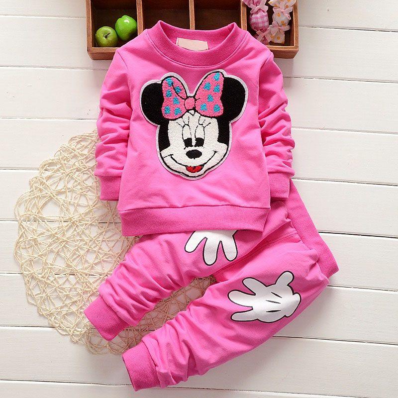 Pantalon Enfants Vêtements Set 2pcs bébé filles Minnie Tenues T Shirt Tops
