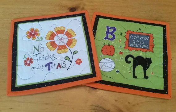 Check out this item in my Etsy shop https://www.etsy.com/listing/251577380/halloween-mug-rugs-set-of-2-snack-mats