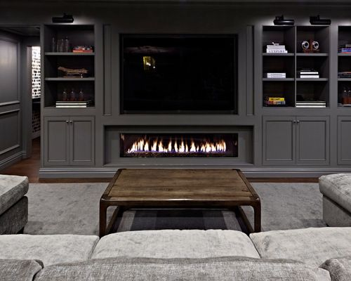 Basement Design Ideas Pictures Remodel Amp Decor With A Ribbon Fireplace And Gray Walls Small Bedroom Remodel Basement Design Kids Bedroom Remodel