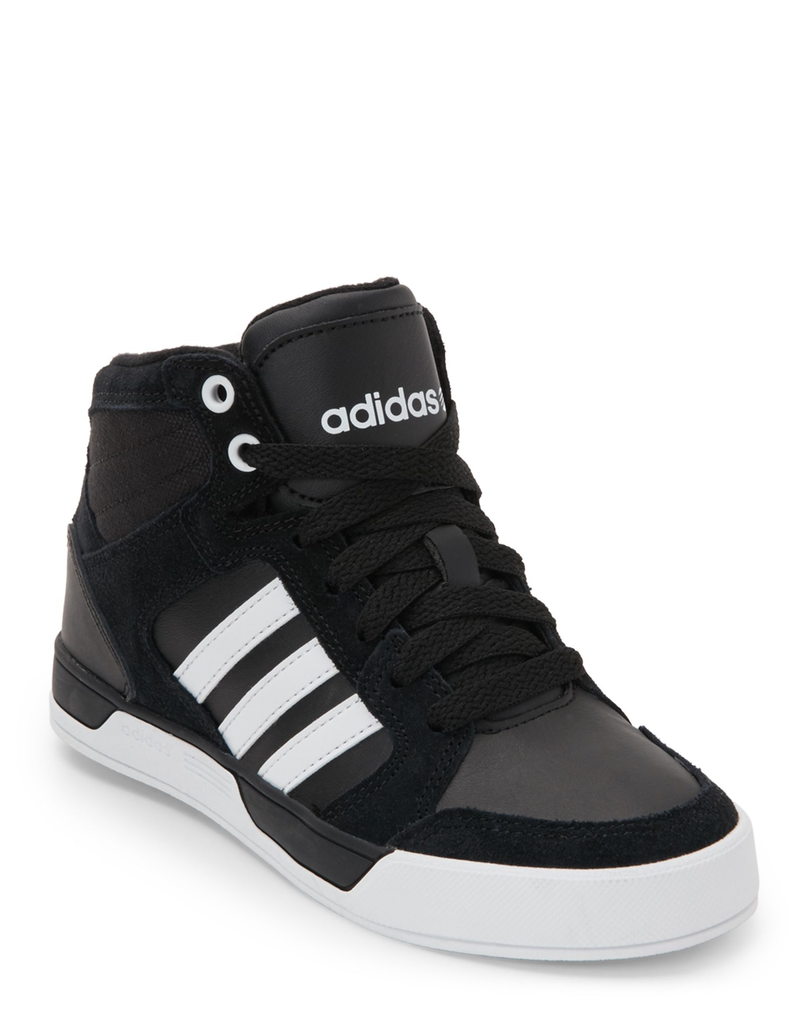f017cd667d06 Adidas (Kids Boys) Black   White Neo Raleigh K High Top Sneakers ...