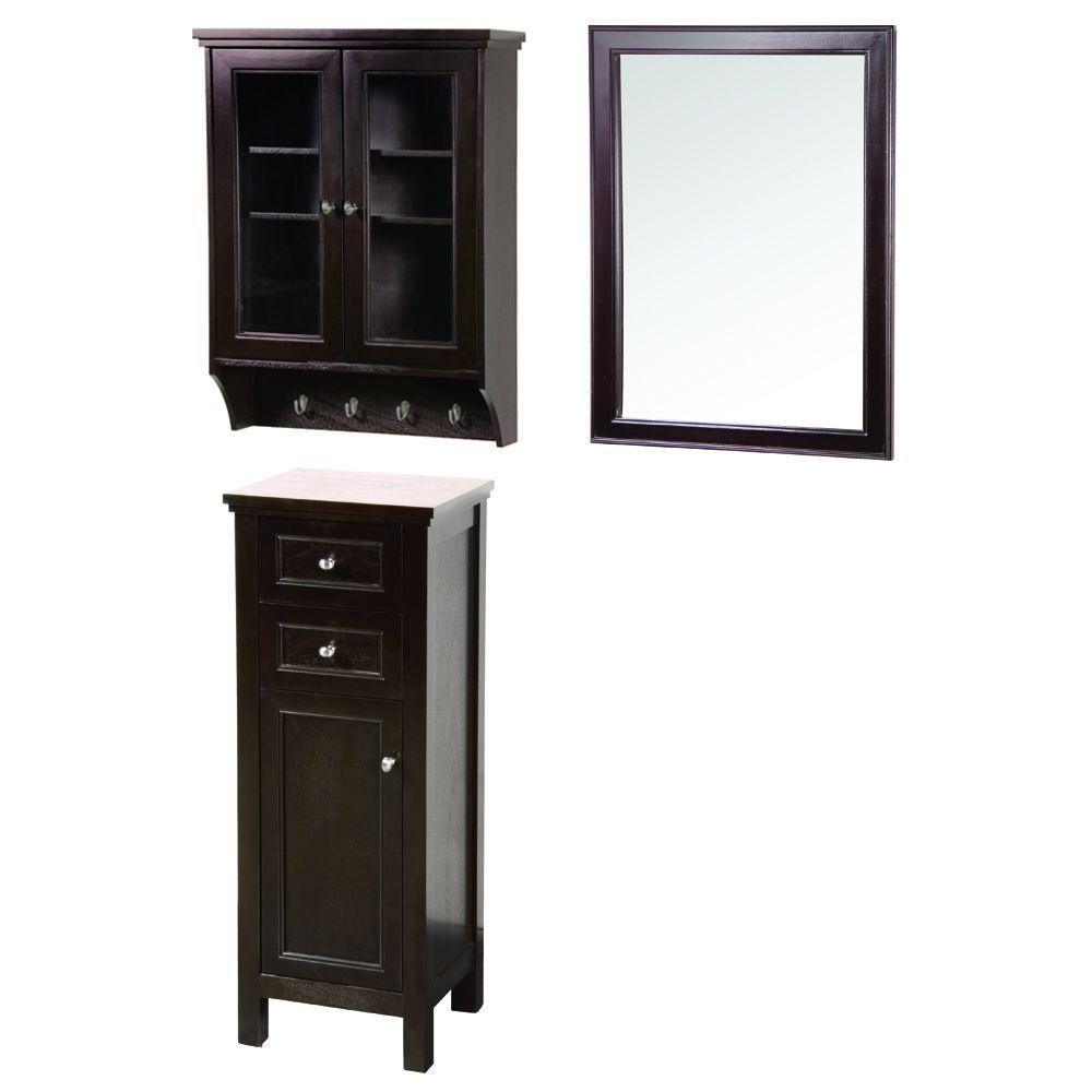Foremost Gazette 42 in. L x 16 in. W Wall Mirror and Wall Cabinet ...