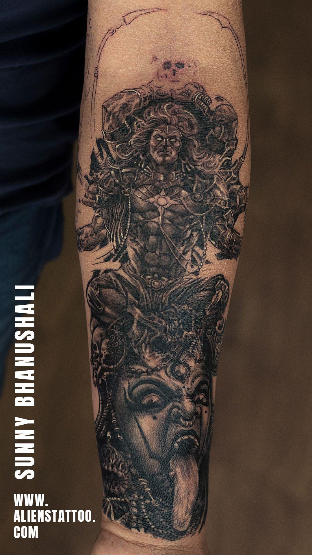 5ae00080b Shiva Kali Realistic tattoo by Sunny Bhanushali at Aliens Tattoo India