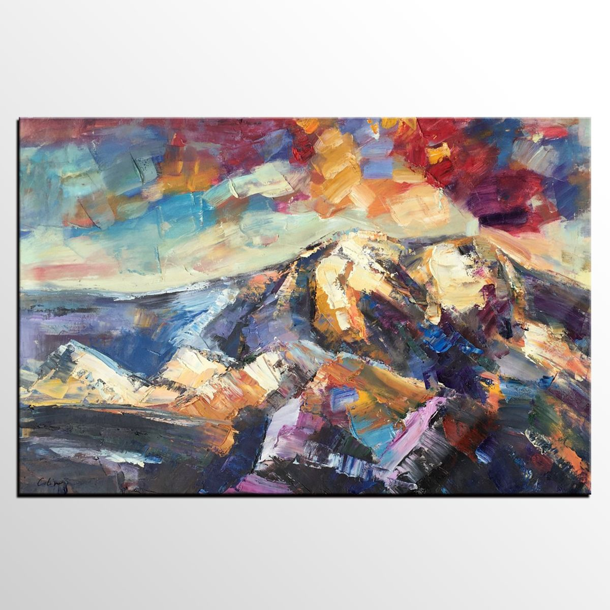 Abstract Art, Canvas Art, Landscape Painting, Original Wall Art, Mountain  Painting,